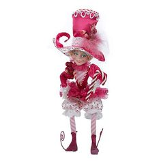 "Kurt Adler 20"" Fabric Pink Candy Pixie Tablepiece"
