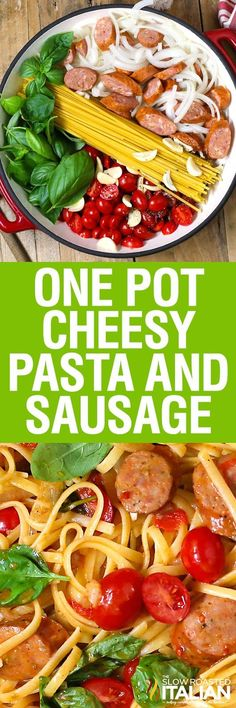 One Pot Cheesy Pasta and Sausage - A creamy cheesy tomato basil sauce is cooked right into the linguine pasta in this amazing One Pot Pasta recipe, ready in 20 Minutes!  Toss it all in a pot and let it cook.  It's so easy it just about cooks itself.  Now that's my kind of meal.