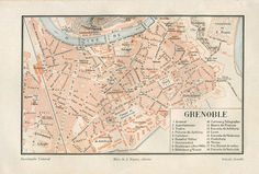 Grenoble Vintage City Map Street Plan by CarambasVintage City Maps, 1920s, Vintage World Maps, France, How To Plan, Street, Antiques, Etsy, Cards