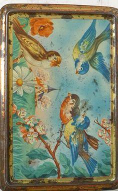 Antique bird illustrated tin