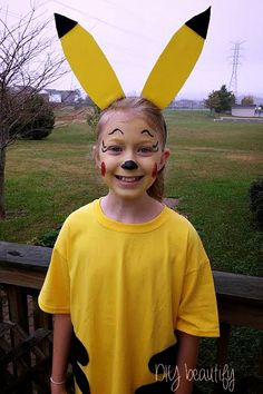 Calling all Pokemon fans! Craft a little Pikachu for Halloween using face paint and minimal supplies. Pokemon Costumes, Minion Costumes, Family Halloween Costumes, Halloween Diy, Pikachu Costume Kids, Carters Halloween, Halloween Couples, Halloween Makeup, Homemade Costumes
