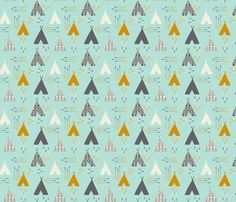 fitted crib sheet in aqua teepees // made-to-order by iviebaby