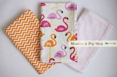 Flannel Baby Burp Cloth Gift Set Of 3 // Flamingo, Orange Chevron, Pink Polka Dots  by Momista & Pop Shop