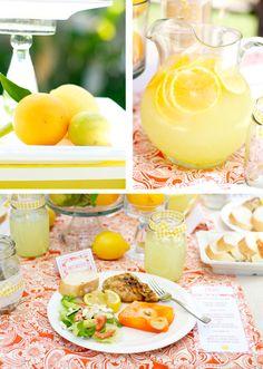 Lemon Luncheon. Link has invitation, and favor printables, menu looks yummy. Mason jars hold lemonade