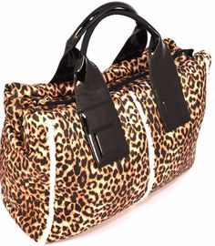 HAND BAG LEOPARDATA VERNICE NERA Borsa Mano Shopping Donna Animalier Beige