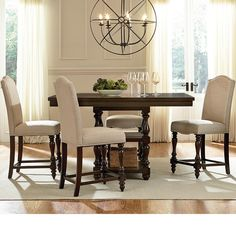 Counter Height Dining Set For 4 Person Vintage 5 Pc Table And Chairs Furniture Pub Dining Set, Kitchen Dining Sets, Counter Height Dining Table, Pub Set, 5 Piece Dining Set, Dining Room Sets, Dining Room Table, Kitchen Ideas, Kitchen Tables
