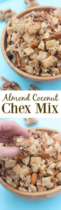 Almond Coconut Chex Mix is part of Chex mix - Almond Coconut Chex Mix includes my favorite cereals, pretzels, and golden grahams tossed in a sweet syrup to make the most addicting snack mix! Snack Mix Recipes, Yummy Snacks, Yummy Treats, Delicious Desserts, Sweet Treats, Snack Mixes, Healthy Snacks, Chex Recipes, Healthy Eating
