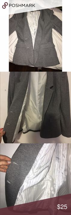 Brand New Grey Blazer Brand new (never worn) grey blazer. Inside lined with silk like fabric, outside is 70% cotton and 30% polyester.  Very warm, can be worn during the fall and spring. Jackets & Coats Blazers