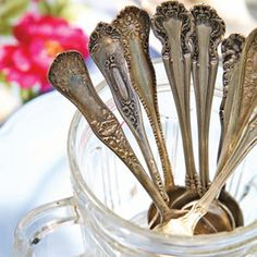 Spring Party Tips for Decorating and Entertaining - Mismatched teaspoons in a vintage sugar bow.