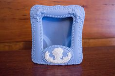 Vintage Blue Ceramic Cameo Picture Frame by JenuineCollection on Etsy #cameo #vintageframe #pictureframe #ceramic