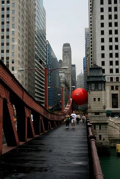 """""""The Red Ball Project"""" by Kurt Perschke (in Chicago, 2008)"""