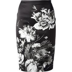 ROBERTO CAVALLI floral print pencil skirt ($376) found on Polyvore