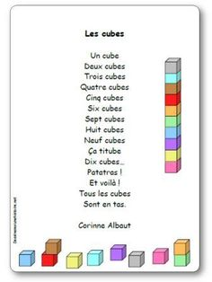 Poésie Les cubes de Corinne Albaut Petite Section, Preschool Kindergarten, Cubes, Poems, Teacher, Texts, Names, Page Boy, Geometry