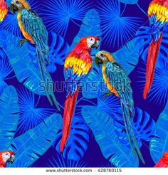 Seamless jungle tropical pattern with parrot exotic bird, palm leaves vector background perfect for wallpaper, pattern fills, web page background, surface textures, textile. Exotic pattern with parrot