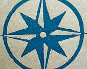 Wrapping Paper - Gift Paper - Hand Printed Recycled Brown Kraft Paper - Nautical - Midnight Blue Compass Rose