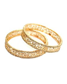 Gold Plated Metal Cz Studded Bangles from India Vogue