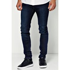 BoohooMAN Dark Blue Skinny Jean ($35) ❤ liked on Polyvore featuring men's fashion, men's clothing, men's jeans and dark blue