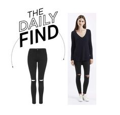 """Daily Find: Topshop Ripped Black Jeans"" by polyvore-editorial ❤ liked on Polyvore featuring Topshop and DailyFind"