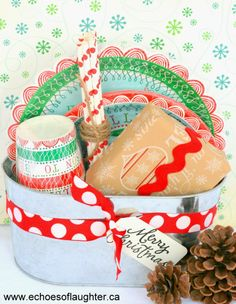 An easy to put together holiday gift basket. Makes a great hostess gift! From @Angie @Echoes of Laughter on #savvystories