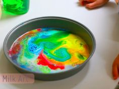 Milk art, a rainy day craft.  This is super easy to paint on bread too & then toast your bread!  Gianna LOVES it!