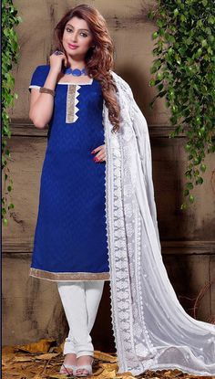 USD 21.68 Blue Cotton Jacquard Churidar Suit 55955