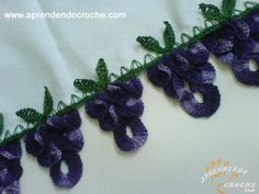 Barrado de Crochê Uvas - Receita de Croche com o Passo a Passo no Link http://www.aprendendocroche.com/receitas-de-croche/video-aula.asp?resid=898&tree=13