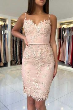 Discount Easy Homecoming Dresses Short Elegant Sheath Spaghetti Straps Pink/Black/Red Short Homecoming Dress With Appliques Prom Dresses Long With Sleeves, Prom Dresses Online, Cheap Prom Dresses, Homecoming Dresses, Dress Online, Mini Dresses, Dress Prom, Short Elegant Dresses, Junior Prom Dresses Short