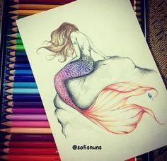 realistic mermaid drawings - Google Search