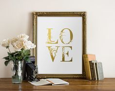 Gold Love Print Love Printable Love Wall Art by PrintableBeautyArt