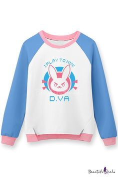 Cute Rabbit Game Letter Pattern Color Block Round Neck Long Sleeves Pullover Sweatshirt