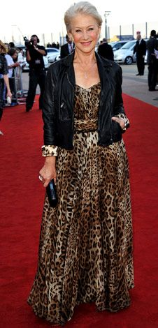 beautiful personal style! #leopard #dress #helenmirren