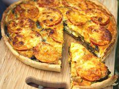 pâte brisée, aubergine, tomate, cumin, huile d'olive, feta, oeuf, crême fraîche, curcuma, paprika, gruyère râpé, sel, poivre