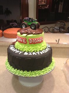 Grave Digger monster truck cake I made!