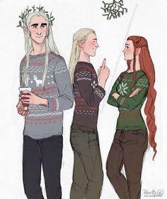 A Mirkwood Family in ugly sweaters! thranduil , legolas and tauriel Gandalf, Legolas And Thranduil, The Hobbit Movies, O Hobbit, Hobbit Hole, Mirkwood Elves, Elfa, Jrr Tolkien, Tolkien Books