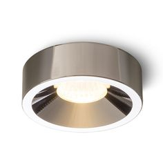 Recessed LED light with a solid frame.