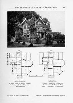 "Netherlands, House ""De Hoeve"" A large and. - Vintage Home Plans Brown Accent Wall, Vintage House Plans, Vintage Homes, Vintage Party Decorations, Small Fireplace, Second Empire, Residential Architecture, Architecture Layout, House Drawing"