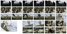 Colored storyboard work by *kse332 on deviantART. This one uses very interesting camera shots, especially when it zooms in on the caveman's face. It cuts quickly from one scene to the next and gives a feel for a lot of quick action.
