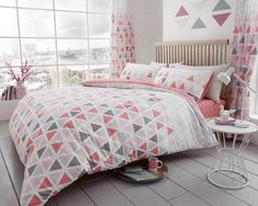 Geo Triangle Pink Duvet Quilt Cover Bedding Set – Linen and Bedding