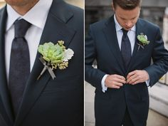 {funny--came across this and thought: Gee, that looks like something I would make. And I did!} succulent boutonniere