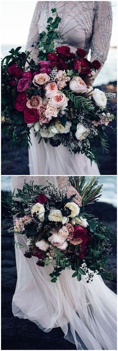 Burgundy Wedding Bouquets for Fall / Winter Wedding #wedding #weddingideas #weddingflowers #fall #flowers #bouquet #weddings