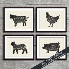 Beef Chicken Lamb and Pork Butcher Diagram door KITCHENBATHPRINTS