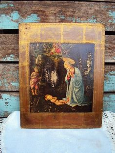 Vintage Italian Florentine Madonna and by primitivepincushion
