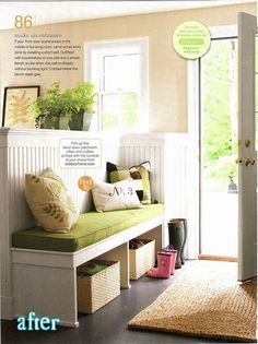 Separate an entryway from the living room or open concept dining room with a built in bench with storage and wainscoting. Photo via BHG How to MAKE an Entryway When You Don't Have One Holly Laine hollylaine House ideas Separate an entryway from the Decor, Built In Bench, House, Interior, Home, Home Remodeling, New Homes, House Interior, Finishing Basement