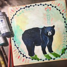 And today's animal: Black Bear! I'm learning that I can really accomplish a lot while Coen is napping, and the short time frame doesn't allow me the opportunity to think too much / second guess myself / get all negative! Bear is all about mothering, protection, the feminine. Getting quiet and hibernating, emerging renewed. Going within. Intuition. One of my personal favorite animals! #dailyanimalart #dailyswiftpics #sketchbook #paintingaday #bear #bearart  #blackbear