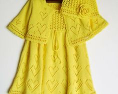 Knitted Baby Dress with Bolero Jacket and Hat - Yellow, 6 - 12 months