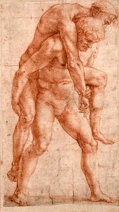 Young Man Carrying an Old Man on His Back, c. 1514 // by Raphael