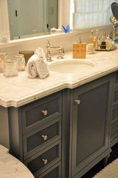 vanity, dark blue, marble, faucet