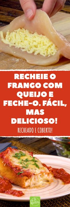 Recheie o frango com queijo e feche-o. - Recetas y más . Salty Foods, Food Cravings, Carne, Chicken Recipes, Food And Drink, Cooking Recipes, Dinner, Ethnic Recipes, Tasty Chicken Recipes