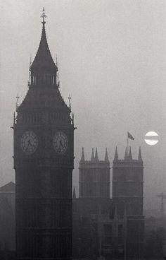 Michael Kenna-Big Ben and Westminster Abbey, London, England, 1975