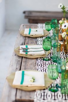 Gorgeous table setting - green, gold, black and white - elegant with a touch of rustic